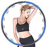 Hula Hoop Fitness,Design Ondulato gomma piuma,Staccabile a 8 sezioni Pneumatico da Palestra per utilizzato per dimagrire e massaggi, Hula Hoop professionale per adulti Fitness 1.2 kg(4nodi blu+grigio)