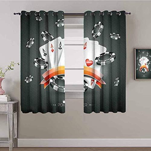 LucaSng Cortinas de Opacas - Gris Pesos Cartas Arte - 234x183 cm para Sala Cuarto Comedor Salon Cocina Habitación - 3D Impresión Digital con Ojales Aislamiento Térmico Cortinas