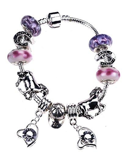 Mädchen-Charm-Armband mit Pferde in einer Luxus Schmuck Fall mit einem Lovely Passende Geschenk Karte
