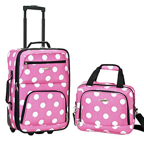 Rockland Fashion Softside Upright Luggage Set, Pink Dots
