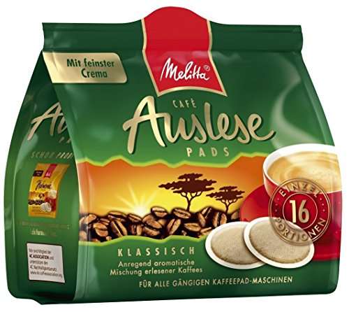 Melitta gemahlener Röstkaffee in Kaffeepads, 16 Pads, vollmundig und temperamentvoll, Stärke 3 bis 4, Auslese klassisch