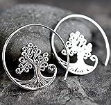 Ohrringe Lebensbaum Spirale - Silber 925 Sterling - Rutschfest - Angenehm zu Tragen