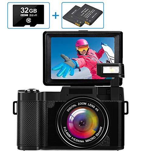 Cámara digital Cámara compacta Full HD 2.7K 30MP VLOGGING Cámara para cámara YouTube con tarjeta de memoria 32G y 2 baterías (G06C, NEGRO)
