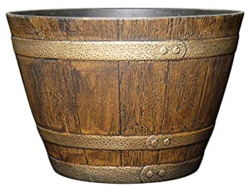Classic Home and Garden 72 Whiskey Barrel 15  Distressed Oak