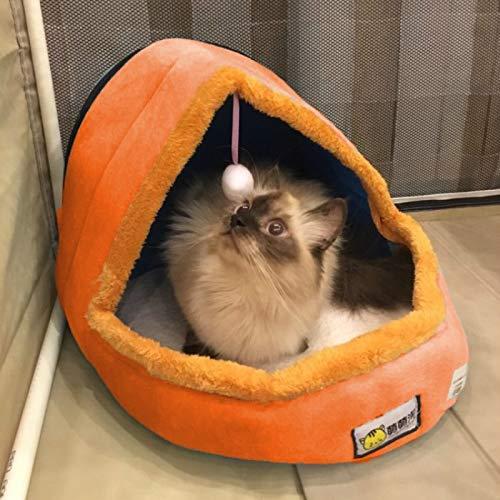Shufeivicc Perro doméstico Gato cálido cálido Cama Suave Amortiguador Perro Kennel Gato Castillo Casa de Perrito Plegable con Bola de Juguete, tamaño: s (Color : Orange)