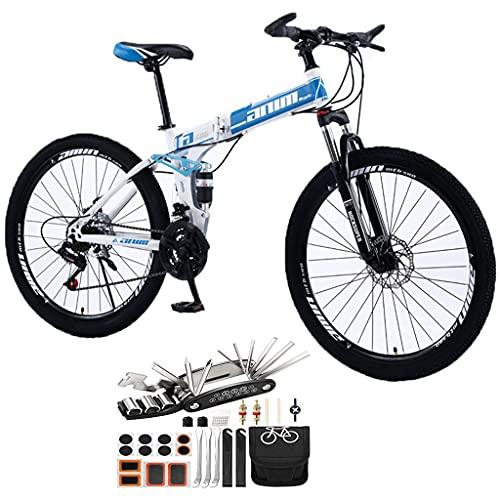 26 Pulgadas Bicicleta De Montaña Plegable,21-30 Velocidades Rueda De Radios Bicicletas Frenos De Doble Disco Bicicleta De Montaña Accesorios Para Herramientas ( Color : Blue , Speed : 21speed )