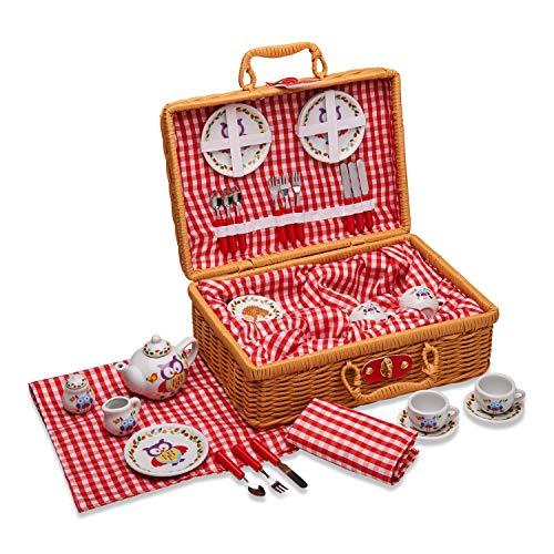 """Wobbly Jelly– """"Waldtiere"""" Teeservice & Picknickkorb– 31-teiliges Spielgeschirr für Kinder"""