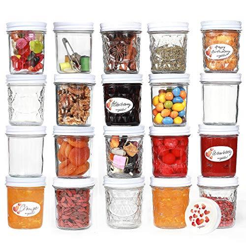 megusta!® Einmachgläser mit Deckel, 200 ml, 20er Set + 20 Etiketten, klares Glas Deckel Herz-Design für Marmelade Gewürze Pesto Babynahrung, als Joghurtbereiter, Geburtstagsgeschenk für Frauen