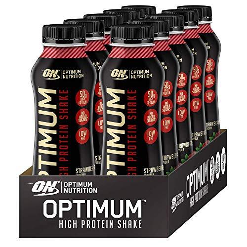 Optimum Nutrition ON High Protein Shake, Flüssiges Eiweiß Shake, Bereit zu Trinken, Fettarmer Protein Snack ohne Zuckerzusatz, Strawberry, 1er Pack, 10x500 ml
