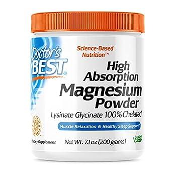 Doctor s Best High Absorption Magnesium Powder,White 100% Chelated TRACCS Not Buffered Headaches Sleep Energy Leg Cramps Non-GMO Vegan Gluten Free 200G