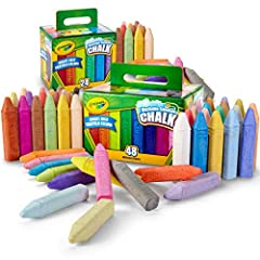 72 Chalk Sticks, 48 Unique & Different colors! Bright, bold Crayola crayon pigments produce the brightest sidewalk chalk available Anti-roll shape helps keep kids safe by not rolling down the driveway which causes kids to naturally chase after Washab...