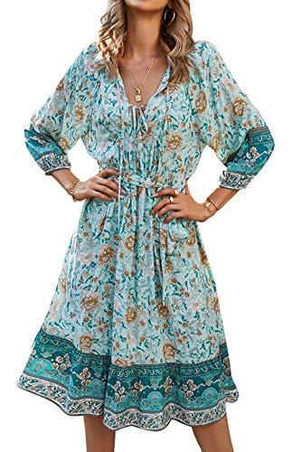 ZIYYOOHY Damen Kleid Blumen Muster Langarm Frühling Sommer Oberteile (Blau-008, L)