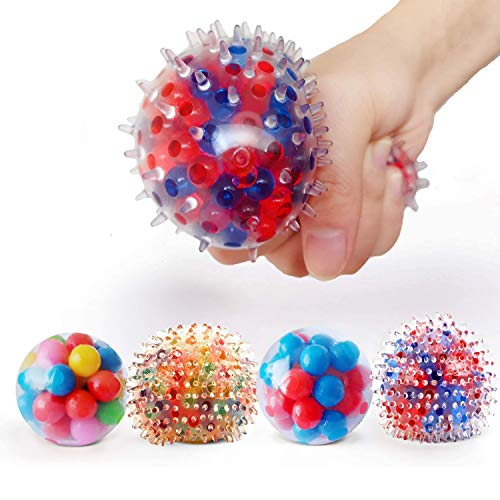 Abbiline Stress Relief Toys for Kids - Squeeze Squishy Ball for Anxiety ADHD-Sensory Bead Ball Toys with Water Beads (4 Different Balls)