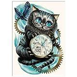 Diamond Painting Kits for Adults, DIY 5D Diamond Painting Cat Clock Crystal Rhinestone Embroidery Cross Stitch Arts Wall Decor