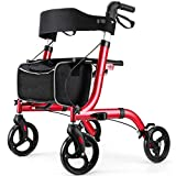 RINKMO Rollator Walkers for Seniors- Rollator Walker with Seat 8' Wheels- Easy Folding Senior Walker with Padded Backrest- Lightweight Mobility Walking Aid for Adult Elderly, Aluminum Frame, Red