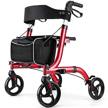 RINKMO Rollator Walkers for Seniors- Rollator Walker with Seat 8  Wheels- Easy Folding Senior Walker with Padded Backrest- Lightweight Mobility Walking Aid for Adult Elderly Aluminum Frame Red