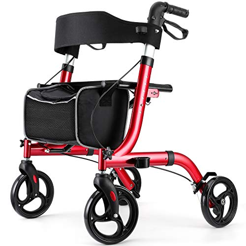 RINKMO Rollator Walkers for Seniors Premium Aluminum Rollator Walker with Seat 8 inch Wheels Senior Walker Lightweight 15.6 lb Walker for Adult up to 300 lbs Walker Handle Adjustable 18' Wide Seat Red