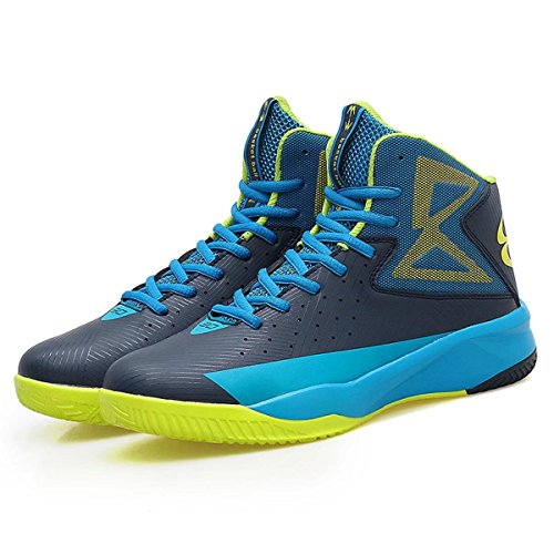 Men's Air Performance Allstart Light Sports Shoe Running Casual High Cut Breathable Mid Basketball Shoes Sneaker for Boy(Blue-Yellow,EUR42)