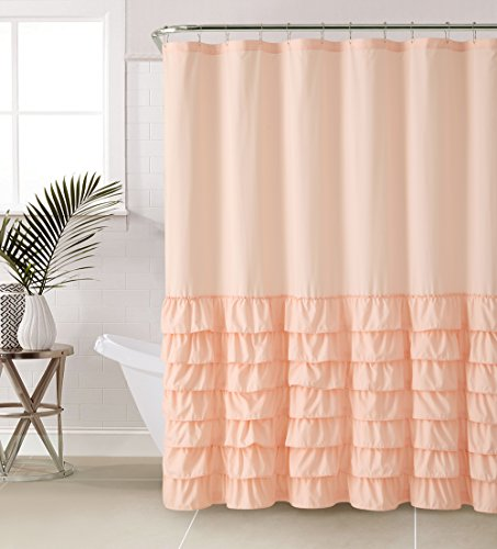 VCNY Home | Melanie Collection Bathroom Shower Curtain-Chic Stylish Ruffle Fabric Design-Machine Washable, 72x72, Pink