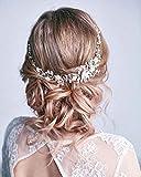 Unicra Diadema de cristal plateado para novia, accesorios para el cabello de novia, para mujeres y niñas