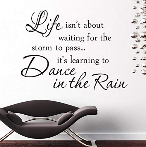 Inspiration Quote Life is Dance in The Rain Sayings Home Decor Wall Sticker Famous Warm Mural Art to Decal Book Room Classroom