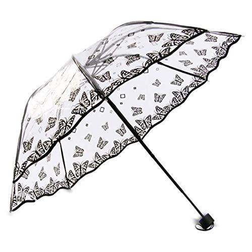 Transparent Regenschirm mit Hülle Groß Taschenschirm Schwarze Grenze Kreativer Reiseschirm für Auto Familien Tragbarer Schirm Leicht Durchsichtig Windfest Durchmesser 96cm