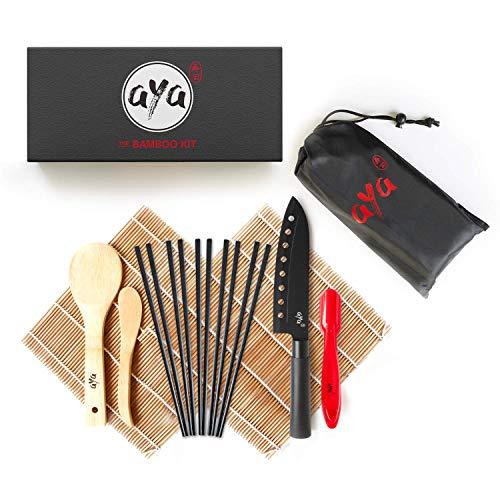 AYA Kit à Sushi - Nattes de Première Qualité - Bambou 100% Naturel - Kit Bambou avec Couteau à Sushi - Tutoriels Vidéo - 2 Nattes de Bambou - Spatule et Cuillère à Riz