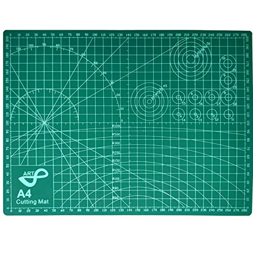 QILZO® Tabla de Corte A4 Doble Cara Plancha de Corte 3 capas para Costura y Manualidades Base de Corte para Patchwork Cutting Mat, Color Verde (30 x 22cm)