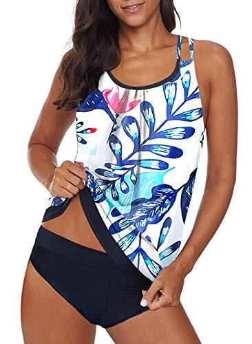 Dearlovers Women's Tankini Set Summer Crisscross Swim Top Two Piece Bathing Suits Swimsuit White Large