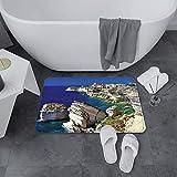 Alfombrilla de Baño Antideslizantes de 60X100 cm,Wanderlust Set, Binifacio Town in Rocks Cors,Tapete para el Piso Lavable a Máquina con Microfibras Suaves Absorbentes de Agua para Bañera, Ducha y Baño