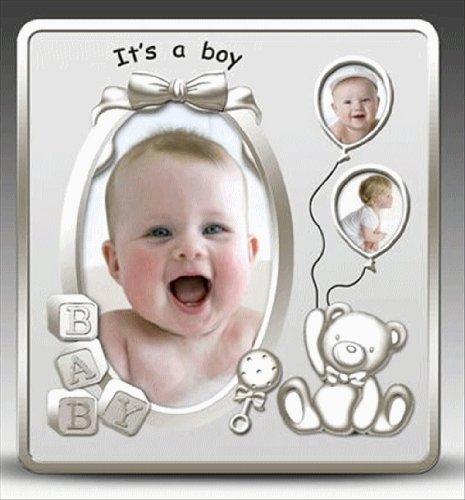 Cadre photo-Cadre photo baby son un garçon Argent satiné