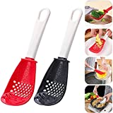 Multifunctional Kitchen Cooking Spoon,Cooking Spoon Kitchen Spoon Scoop Colander,Egg Strainer for Draining,Mashing,Grinding,Garlic Press Crusher (Red+black)