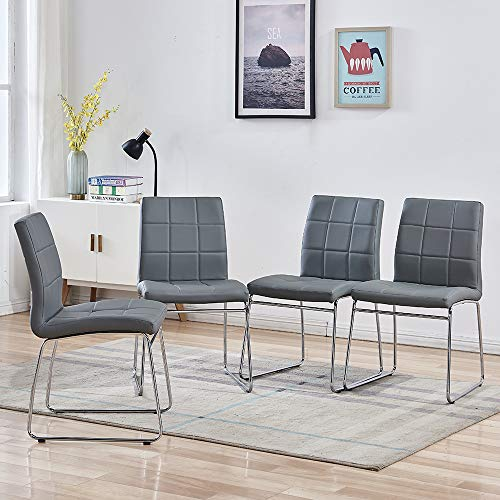 Enjowarm Dining Chairs Set of 4 Kitchen Chairs Faux Leather Upholstered Sled Base Chrome Ergonomic Design Modern Mid Century Living Room Side Chairs for Home Kitchen Office Waiting Room