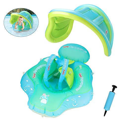 yidenguk Baby Schwimmring mit Aufblasbarem Sonnenschirm, Baby Float Schwimmreifen mit Baby Schwimmsitz, Kinder Schwimmreifen Schwimmbad Schwimmring für 6-36 Monate Baby
