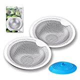 Sink Drain Strainer, 2Pcs Kitchen Sink Strainer Drain Catcher with 1Pcs Silicone Drain Stopper Cover,...