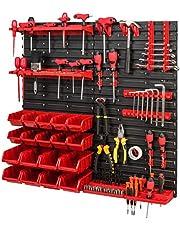 Opslagsysteem gereedschapswand 772 x 780 – set gereedschapshouder en stapelboxen – wandrek werkplaatsrek schutenrek