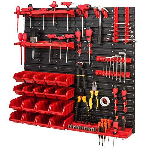 Lagersystem Werkzeugwand 772 x 780 – SET Werkzeughalter und Stapelboxen - Wandregal Werkstattregal Schüttenregal