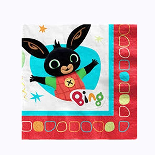 Krea – Paquete de 16 servilletas de papel Tema Bing, tamaño 33 x 33 cm