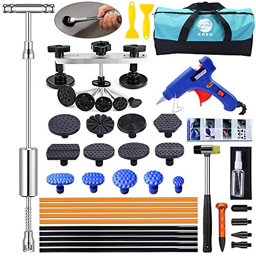 YOOHE Auto Body Paintless Dent Removal Kit - Car Dent Puller Kit with Slide Hammer T-bar Dent Puller and Bridge Dent Puller for Car Dent Repair and Metal Surface Dent Removal