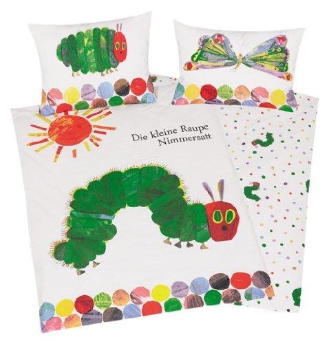 3 tlg. Baby Bettwäsche Wende Motiv: Die kleine Raupe Nimmersatt - Renforcé 100x135 cm + 40x60 cm + 1 Spannbettlaken in weiß 70x140 cm