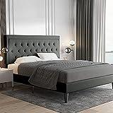Allewie Queen Size Button Tufted Platform Bed Frame /...