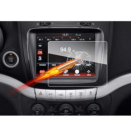 2010-2018 Dodge Journey Uconnect 8.4-Inch Touch Screen Car Display Navigation Screen Protector, RUIYA HD Clear Tempered Glass Car in-Dash Screen Protective Film