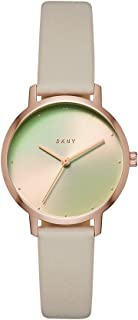 DKNY Women's The Modernist Stainless Steel Quartz Watch with Leather Strap, Grey, 12 (Model: NY2740)