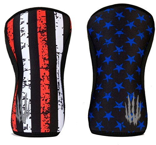 Bear KompleX Compression Knee Sleeves, Fitness & Support for Workouts & Running. Sold in Pairs-Crossfit Training, Weightlifting, Wrestling, Squats & Gym Use. 5mm&7mm Thick, Multicolor for Men & Women