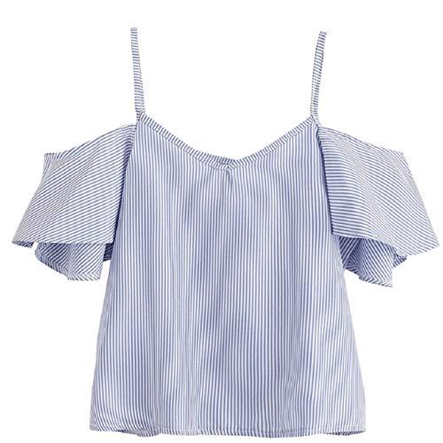 Tuopuda Crop Tops Mujer Verano Camisetas sin Mangas Halter Top Chaleco Camiseta (ES 42=Busto 98cm(Talla L), D)
