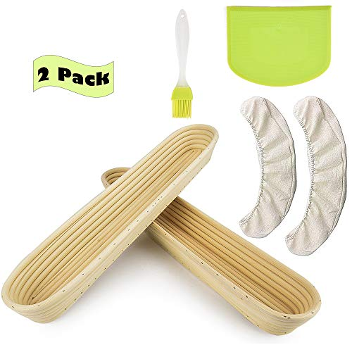 2 Pack of Proofing Basket for Baguette Oval Bread Banneton Baking Bowl Set with Dough Scraper Silicon Brush for Professional & Home Bakers 15 inch(Linen Liner Cloth )