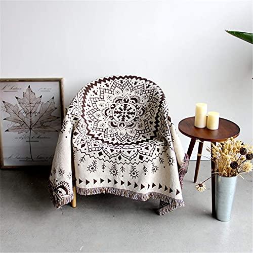 QTWW Sofá de Estilo Bohemio arroja una Manta Bordada Suave marrón Reversible cálida y Gruesa para sillón