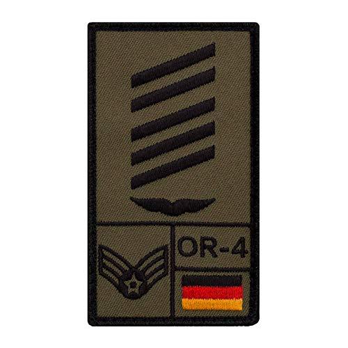 Café Viereck ® Oberstabsgefreiter Luftwaffe Bundeswehr Rank Patch mit Dienstgrad - Gestickt mit Klett – 9,8 cm x 5,6 cm