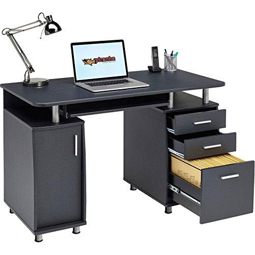 Piranha Großer Computertisch mit 3 Schubladen und einem Unterschrank in grafitschwarz PC 2g