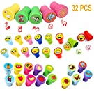 Assorted Animal Stamps for Kids Children Cute Carton Stampers Self-Ink Stamps Kit Boys Girls Birthday Party Favor Bag Fillers Emoji Gifts Easter Egg Treats Toys School Prize, 32pcs